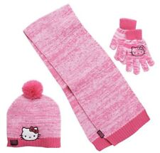 NEW girls HELLO KITTY 3-pc HAT, GLOVES & SCARF set POM-POM pink ACRYLIC sz 4-16
