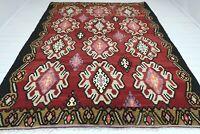 "Vintage Turkish Rug Wool Red Color Oriental Handmade Floor Kilim 91""X117"" Carpet"