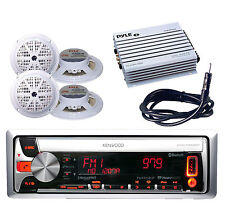 Boat Car KMR-D562BT CD USB MP3 Bluetooth Radio,400W Amp,4 White Speakers,Antenna