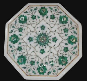 13 Inches Marble Coffee Table Top Pietra Dura Art Side Table from Cottage Art