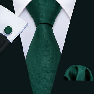 Silk Green Mens Ties Solid Necktie Pocket Square Cufflinks Set Formal Casual