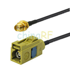 "Fakra Jack ""K"" female to SMA female pigtail cable RG174 15cm for radio"