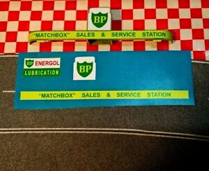 Matchbox Lesney  MG-1  BP  SERVICE STATION Full Set of stickers only (No Sign)
