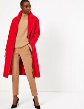 M&S Autograph Wool Blend Red Longline Coat Size UK 18 BNWT