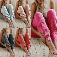 Women Fluffy Plush Pajama Pants Casual Warm Bottoms Trouser Sleepwear Home