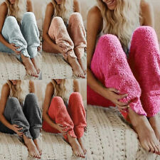 Women Fluffy Plush Pajama Pant Casual Warm Bottoms Trouser Sleepwear Home