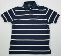 Polo Ralph Lauren Men's Short Sleeve Dark Blue Striped Polo Shirt Size L Large