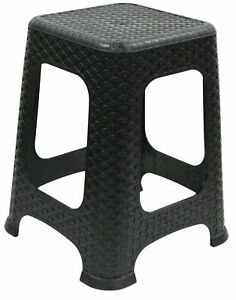 Large Rattan Stackable Stools Step Stool Plastic Indoor Outdoor Chair Black