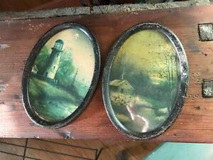 "2- Antique Matching Tin Oval Frames Original Cardboard Inserts Distressed 7.25"""
