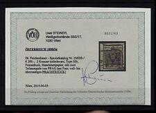 1850 2kr, TIEFSCHWARZ, MP, Type III.b, Dr.Ferch:200,-€! FEINSTDRUCK! PRAG, VÖB!