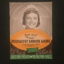 Vintage 1957 Philadelphia Eagles vs. Green Bay Packers Game Program - Milwaukee