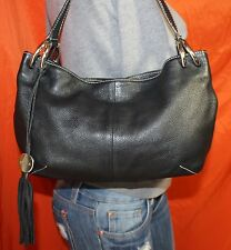 FURLA Made In ITALY Black Medium Leather Shoulder Hobo Tote Slouch Purse Bag
