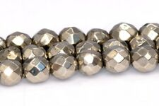 3MM Genuine Natural Pyrite Beads Grade AAA Faceted Round Loose Beads 15.5""