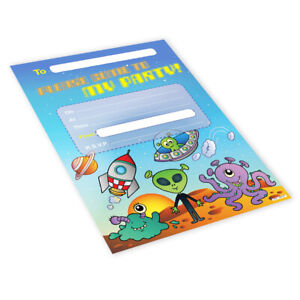 20x Childrens Kids Birthday Party Invitations Invites Pack Blank - Space Aliens