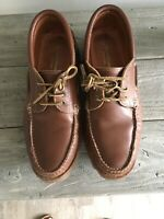 Men's Samuel Windsor Moccasin Style Brown Leather Lace Up Shoes Size 11