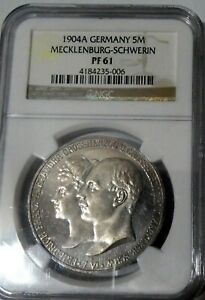 ***NGC*** MECKLENBURG-SCHWERIN 5 MARKS 1904 ** PROOF ** PF 61** 2500 MINTED!! k3