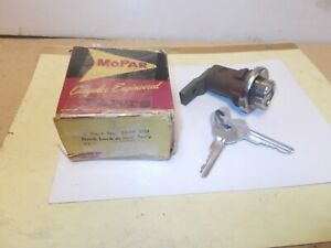 Mopar NOS Deck Lid Lock Cyl.& Keys Pkg. 57-58 Plymouth, Dodge, DeSoto, Chrysler