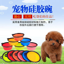 Portable Travel Folding Retractable Silicone Pet Dog Water Food Feeding Bowl