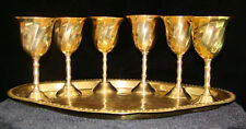 """Beautiful BRASS 7 Piece Set 6 Mini Goblets and 1Tray 3 1/2"""" Tall Older"""