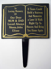Personalised Memorial Plaque Prayer Book Grave Marker Stairway Headstone Tribute