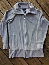 POLO Ralph Lauren Sport Rugby Gray Silver / PINK PONY Fleece Hoodie Womens Sz L