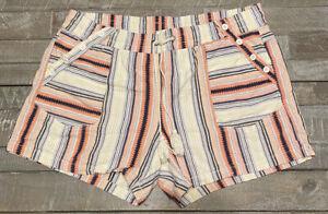 Style Me Linen Blend Shorts Striped Drawstring Waist Pockets Button Accent 2X