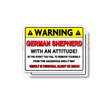 German Shepherd Warning Decal Attitude Guard Dog Bumper 2 pack Stickers mka
