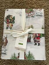 POTTERY BARN Organic Cotton Nostalgic Santa FULL 4 piece Sheet Set - NEW