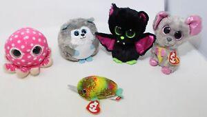 Lot of 5 Ty Beanie Baby Plush Dolls Igor & Squeaker Beanie Boos Yukon Nori Ollie