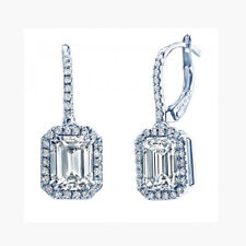Antique Style 3.00 Carat Emerald cut Diamond Earrings Set 18k GIA Certified