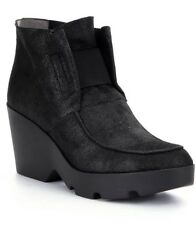 New Eileen Fisher Treat black ankle wedge boots booties 8.5 SOLD OUT $$275