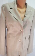 LOFT ANN TAYLOR WOOL BLEND  PANT SUIT SET (10L) Smooth Plaid Tan Fabric