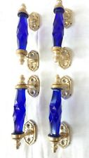4 Ps Vintage Glass Blue Door Handle w Brass Puller Cabinet Cupboard Home Decor
