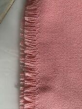 "vintage linen Fringe Edge  tablecloth Rectangle shaped Salmon- pink 60x 86"""