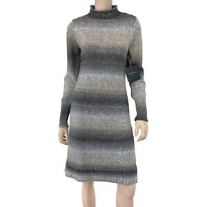 Cynthia Rowley Women's Gray Ombre Striped Long Sleeve Sweater Dress Size M NWT