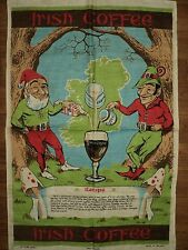 Ireland Linen Tea Towel IRISH COFFEE RECIPE Gnome Leprechaun Elf Mushrooms Retro