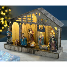 Table Top 26cm PreLit LED Illuminated Nativity Scene Wooden Christmas Decoration