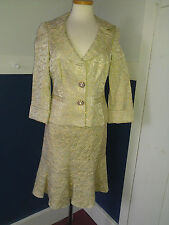 CHETTA B CELEDON BROCADE WITH GOLD METALLIC SKIRT SUIT SIZE 6 NWT-MISSING BUTTON