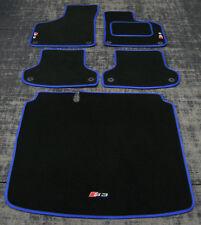 Car Mats in Black/Blue trim to fit Audi S3 8P (2006-2012) + S3 Logos + Boot Mat