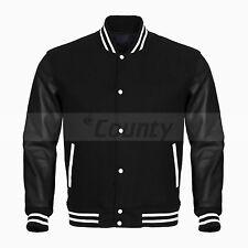 Baseball Varsity Jacket Black Fleece Cotton Body & Black Faux Leather Sleeves