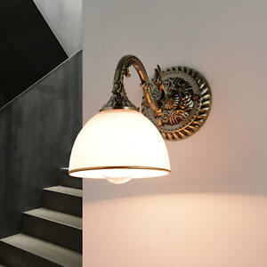Elegante Wandleuchte LOUIS in Messing Glas Metall Jugendstil Wandlampe Flur