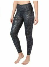 Yogalicious Womens  High-Waist Ankle Length Leggings, Black Floral Large or XL