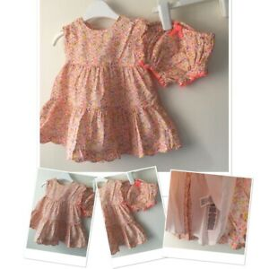 M&S  Baby Girls Pretty Floral Lined Summer Party Dress Set  3-6 Months