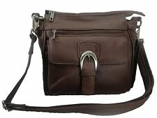 Leather Concealed Carry Cross Body Gun Purse Left W/ Holster Brown CWP CWW