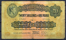 BILLET 20 Shilling or 1 Pound East Africa. Nairobi, 01/09/1943. British Colonies
