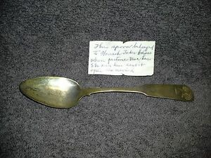 Early 19th Century Coin Silver Spoon Sheaf of Wheat Joshua George Davis Isaac