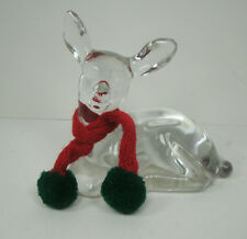 Fenton Clear Glass Deer with Christmas Scarf