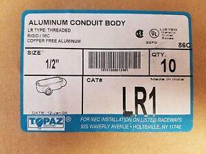 """Topaz LR1 - 1/2"""" Conduit Bodies - Rigid LR Type - Aluminum (10 per box)"""