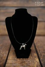 Doberman pincher - silver covered necklace with dog on strap, Art Dog USA