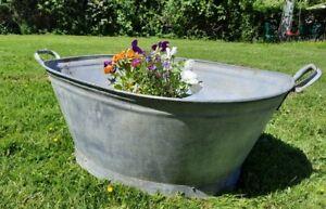 Vintage Galvanised Tin Bath old washing tub garden planter